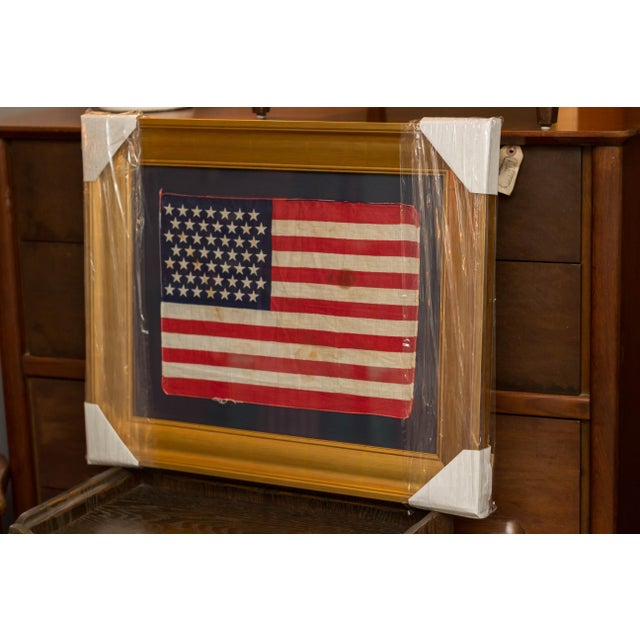 Authentic 49 Star Professionally Framed American Flag Rare Original For Sale - Image 9 of 10