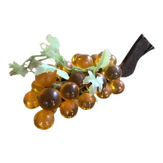 Vintage Golden Yellow Lucite Glass Grape Cluster