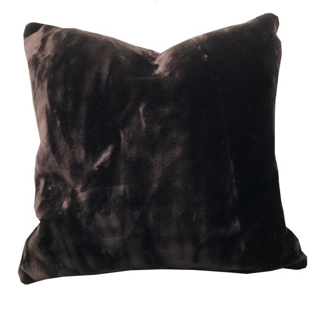Hollywood Regency Dark Brown Faux Fur, Feather Down Pillow, Custom-Tailored For Sale - Image 3 of 4