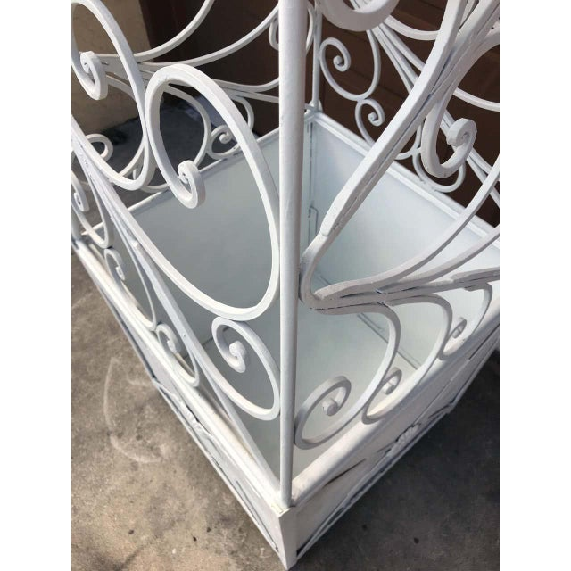 Pair of French Art Deco Neoclassical Wrought Iron Obelisk Planters For Sale - Image 9 of 12