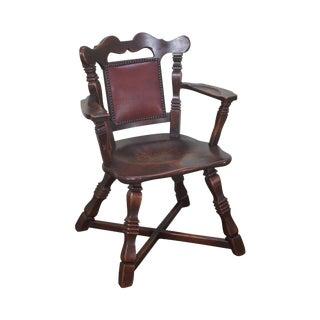 Romweber Viking Oak Leather Back Captains Arm Chair For Sale