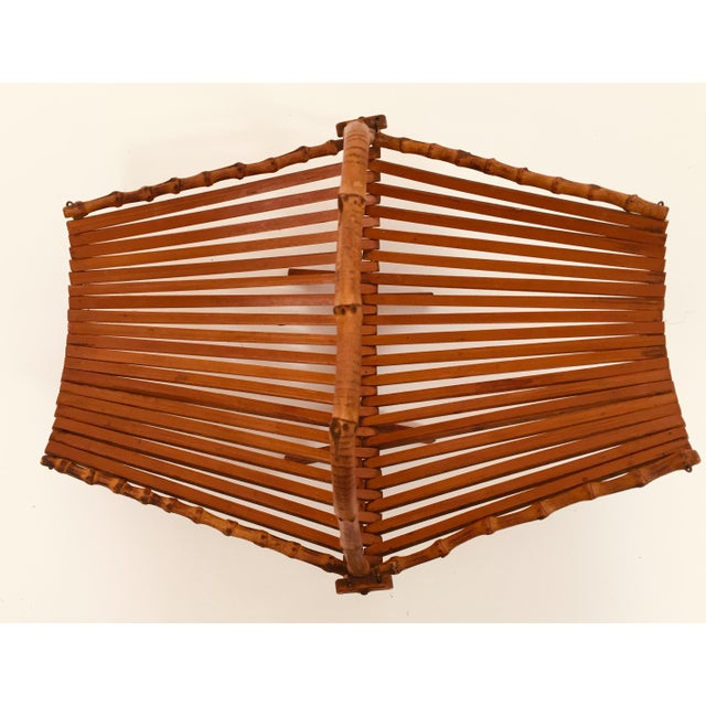 Mid-Century Japanese Folding Bamboo Basket With Handle For Sale - Image 10 of 12