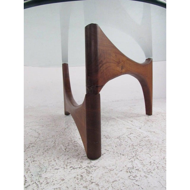 Coffee Mid-Century Modern Noguchi Style Triangular Glass Top Coffee Table For Sale - Image 8 of 9