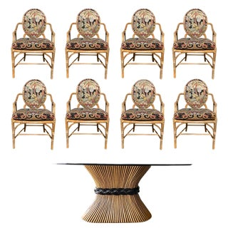 Oval McGuire Dining Set in Bamboo Rattan Cane Tropical Upholstery and Wheat Base and Glass Top - 9 Pieces For Sale