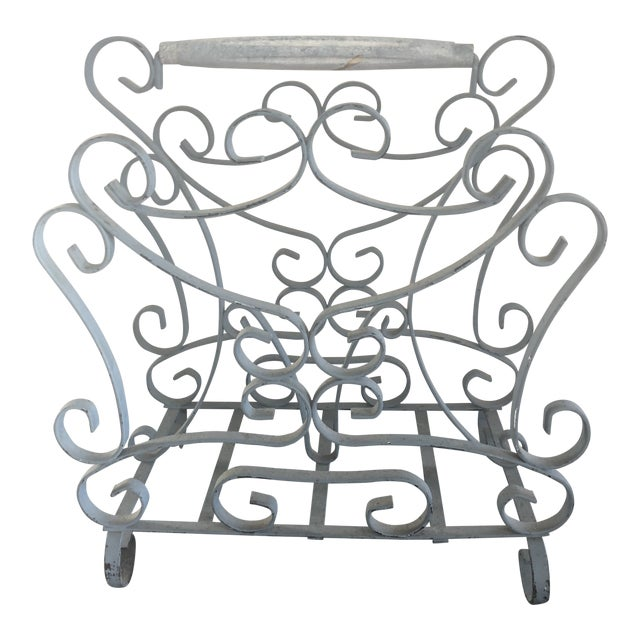 1950s Vintage French Iron Magazine Rack For Sale