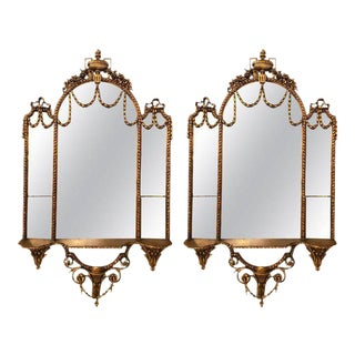 George III Style Giltwood and Composite Shelved Wall / Console Mirrors - a Pair