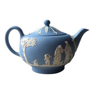 Antique Wedgewood Blue Jasper Classical Teapot For Sale