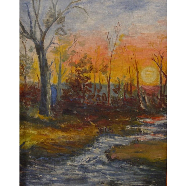 Vintage Painting - Autumn Forest at Sunset - Image 1 of 2