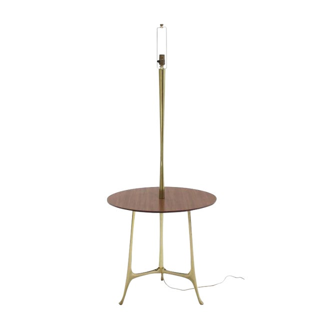 Mid Century Modern Sculptural Tri Leg Base Cast Metal Base Table Floor Lamp For Sale