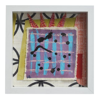 "2010s Abstract Framed Mixed Media Work, ""High Time"" by Sally Bunting 9' X 9' For Sale"