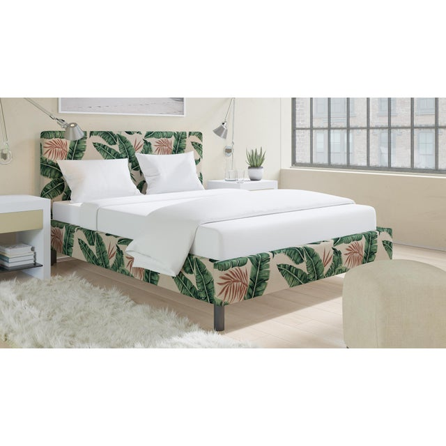 The Inside Queen Tailored Platform Bed in Banana Palm For Sale - Image 4 of 6