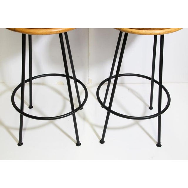 Black Vintage 1960s Swivel Woven Rattan Bar Stools - a Pair For Sale - Image 8 of 13