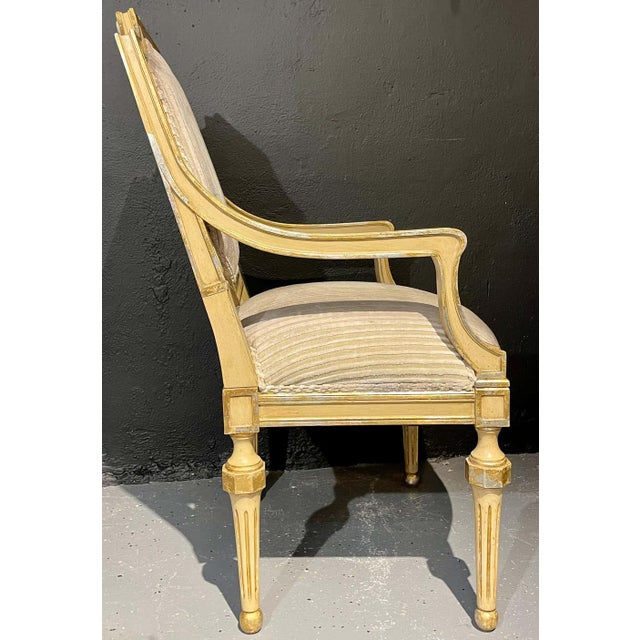 Set of Eight Louis XVI Style Dining Chairs Painted and Parcel-Gilt, Jansen Style For Sale - Image 9 of 13