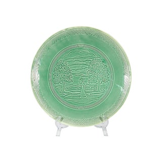 Peasant Woman Green Ceramic Charger For Sale