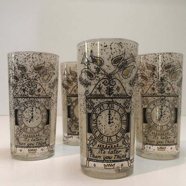 """Georges Briard """"It's Later Than You Think"""" 22k Glasses - Set of Four For Sale - Image 10 of 10"""