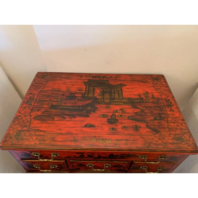 Red Chelsea House Tomato Red Chinoiserie Chest of Drawers For Sale - Image 8 of 13
