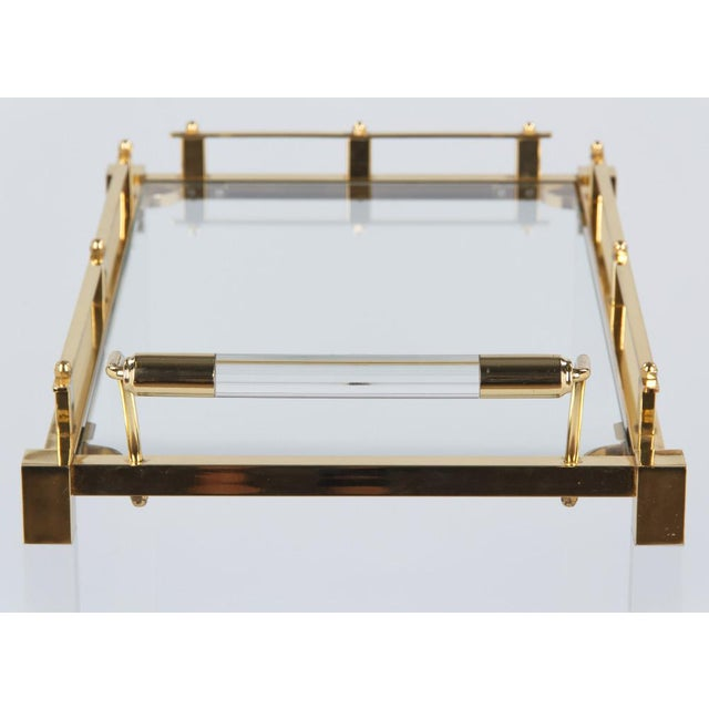 1970s Spanish Lucite and Brass Bar Cart For Sale - Image 9 of 11