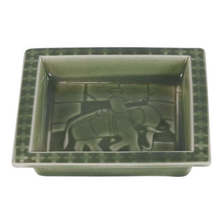 Sally Toohey for Rookwood Pottery Pale Green Glazed Tray With Elephant and Rider For Sale