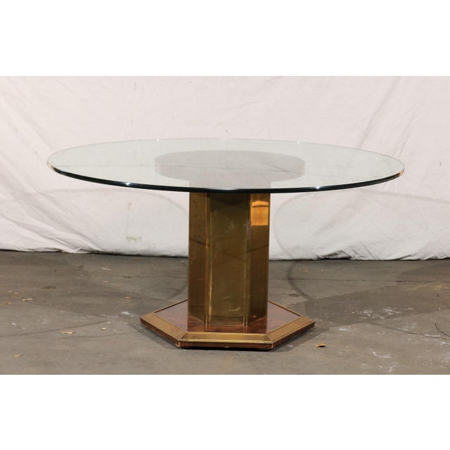 Vintage Mid Century American Brass & Burled Wood Pedestal Table W/ Glass Top For Sale - Image 4 of 12