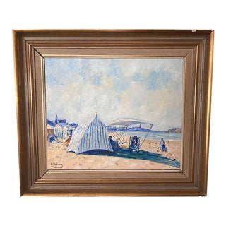 Impressionist French Seaside Oil Painting Signed by H Dubourg, Framed For Sale