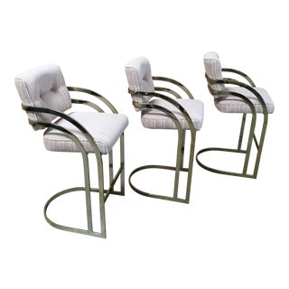 Brass Cantilever Bar Stools - Set of 3