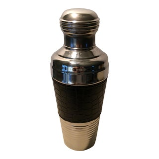 20 Oz. Stainless Steel & Leather Cocktail Shaker For Sale