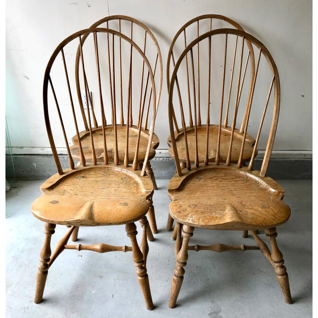 19th Centur Early American Antique Oak Windsor Chairs - Set of 4 For Sale - Image 11 of 11