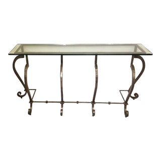 Hand Forged Mid Century California Craftsman Iron Console For Sale