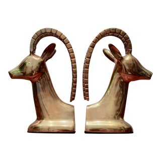 Brass Gazelle Bookends, a Pair For Sale