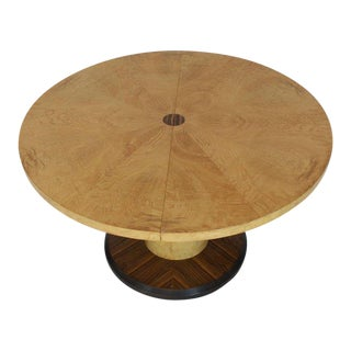 1970s Mid-Century Modrn Round Single Cylinder Pedestal Base Dining Table For Sale