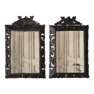 Pair 19th Century Renaissance Carved Wood Mirrors For Sale