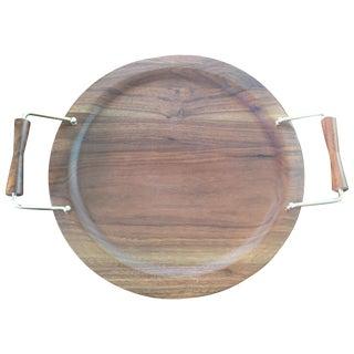 Vintage Danish Modern Wooden Round Tray For Sale