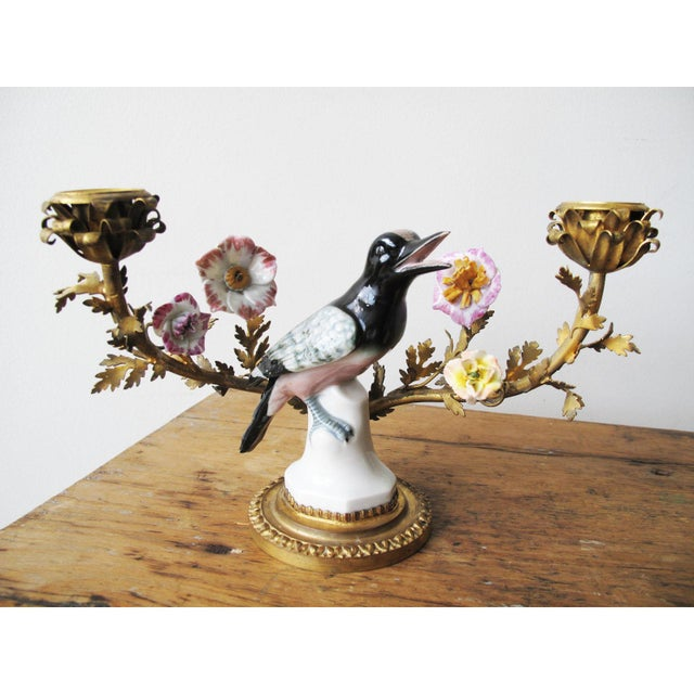 Shabby Chic Louis XV Style Porcelain and Gilt-Bronze Candelabras - a Pair For Sale - Image 3 of 6