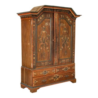 Antique Exceptional Original Painted Armoire Cubpoard Cabinet Dated 1778 For Sale