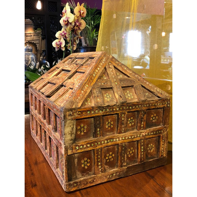 Red Small Teak Dowry Chest For Sale - Image 8 of 8