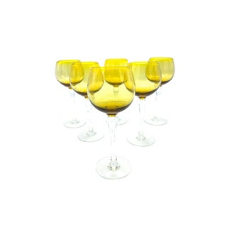 Vintage Mid-Century Two Toned Amber and Clear Stemmed Wine Goblets - Set of 6 For Sale