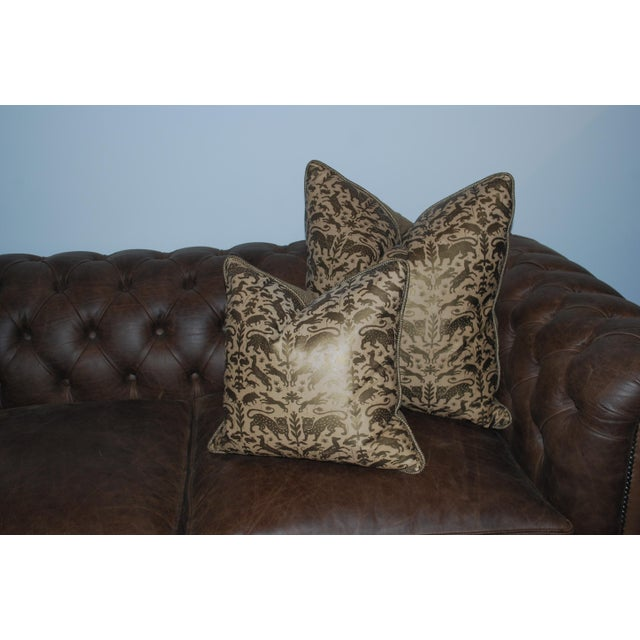 Traditional Greyana Hand Stamped Leather Pillows - A Pair For Sale - Image 3 of 4
