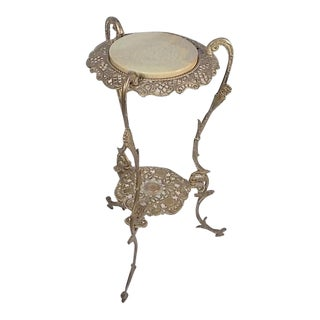 Vintage Victorian Style Brass & Marble Top Filigree Stand
