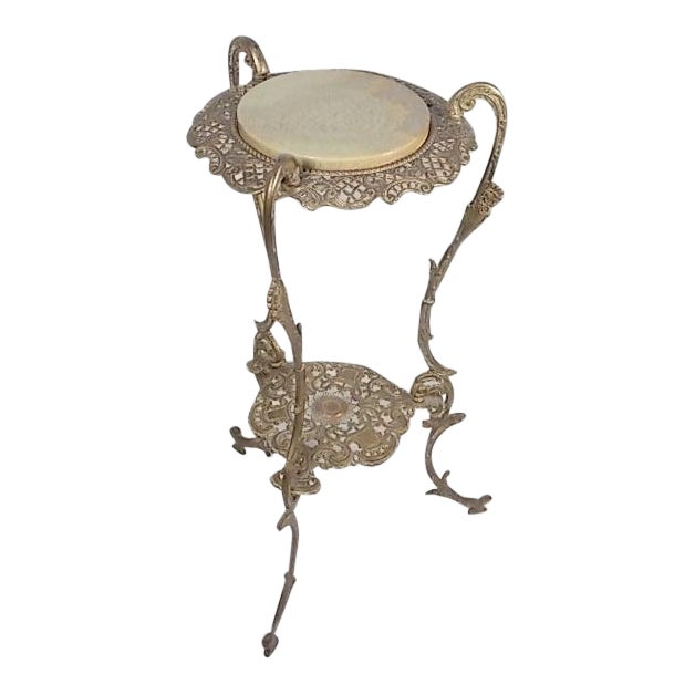 Vintage Victorian Style Brass & Marble Top Filigree Stand For Sale