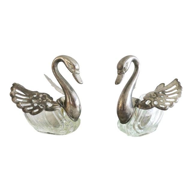 Vintage Godinger Swans Salt Well - Set of 4 For Sale