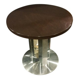 Modern Polished Steel & Dark Walnut Pedestal Table For Sale
