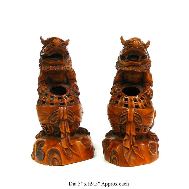 Boxwood Carved Foo Dog Feng Shui Figures - A Pair - Image 6 of 6