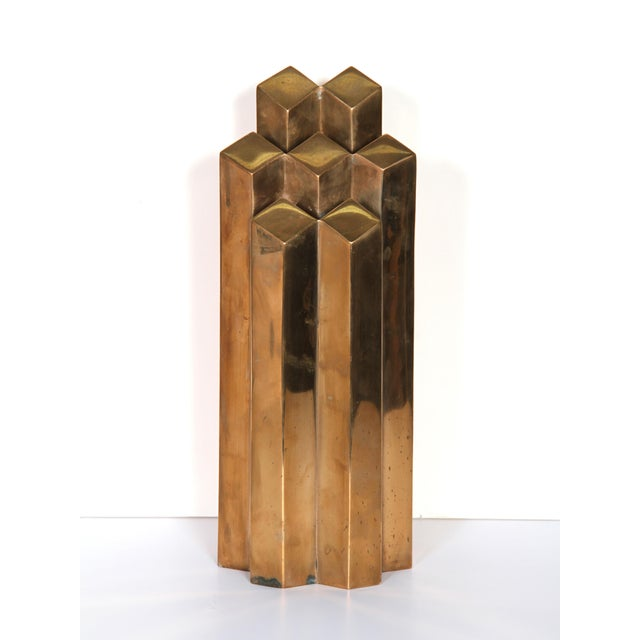 Modern Geometric Polished Bronze Sculpture - Image 5 of 5
