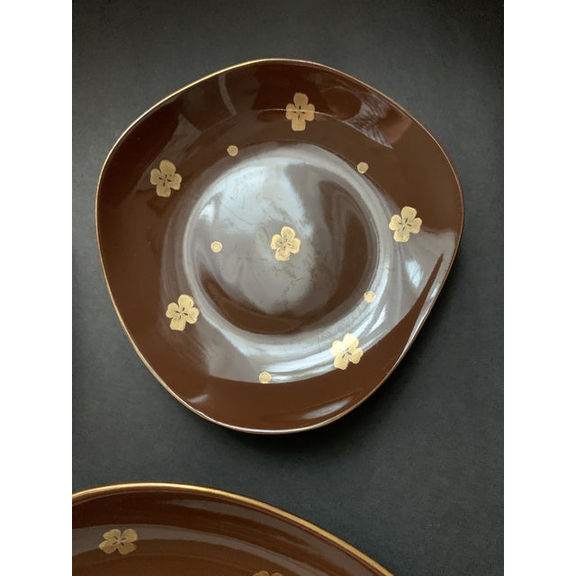 Vintage Mid Century Brow Gilded Cake Dessert Serving Set - 7 Pieces For Sale - Image 4 of 11