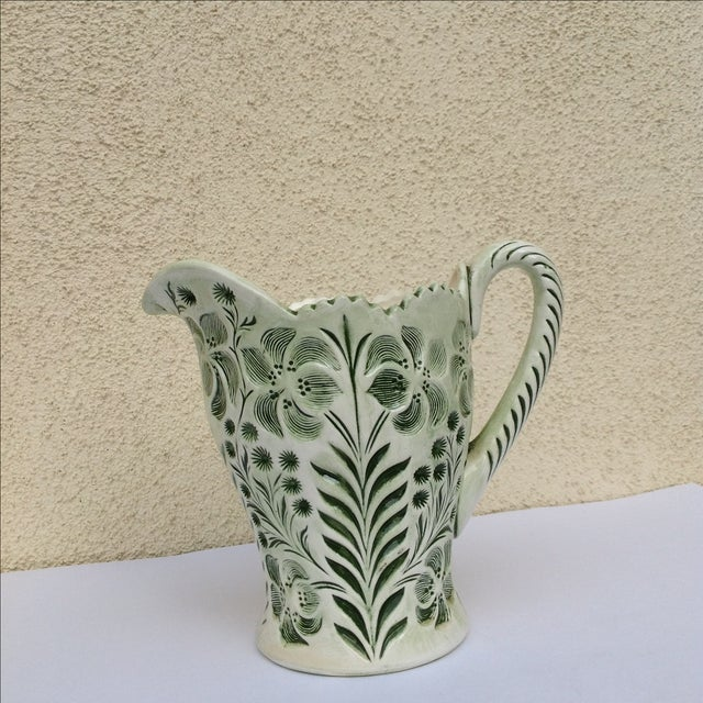 Green Botanical Artisan Pottery Pitcher - Image 3 of 11