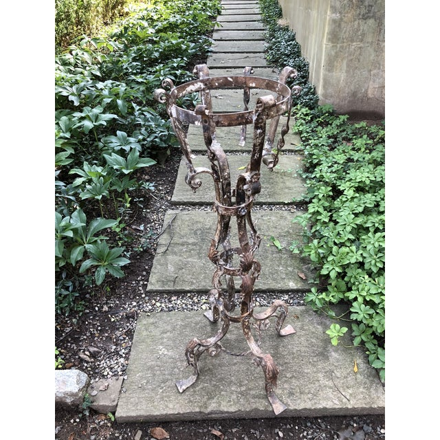 Americana Antique Victorian Iron Planter on Plinth For Sale - Image 3 of 6