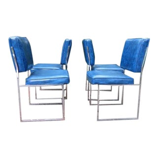 1960s Mid-Century Modern Chrome Dining Chairs - Set of 4 For Sale