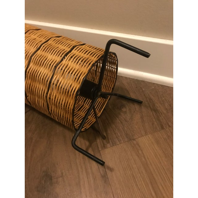1950s 1950s Mid-Century Paul Mayen Wicker Table Lamp With Shade For Sale - Image 5 of 7