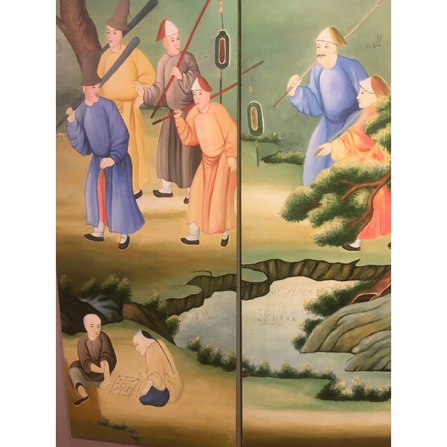 Chinoiserie Mural Painting on Panels For Sale - Image 9 of 13