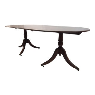 Regency Style Double Pedestal Dining Table For Sale